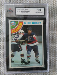 1978 Topps Hockey Card Of Rookie Mike Bossy Graded Gem Mint 10 Card 115