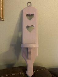 Wooden Wall Small Display Shelf Pink With Hearts