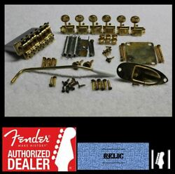 Fender Stratocaster Aged Relic Gold Usa 2 3/16 Hardware Set W/ Tuners - Strat