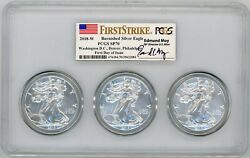 2018-w Burn Ase 3-pc Slab Sp70 Pcgs Dc/denver/phili Fdoi First Strike Ed Moy
