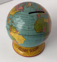 Vintage J. Chein And Co. Tin Globe Bank Made In U.s.a.