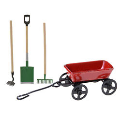 112 Scale Small Metal Cart Tractors Toy Garden Tools Dollhouse Miniature