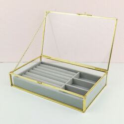 Antique Beauty Display Jewelry Case Holder Clear Glass Cosmetic Storage, Makeup