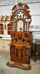 Antique Refinished Walnut Victorian Hall Tree And Mirror