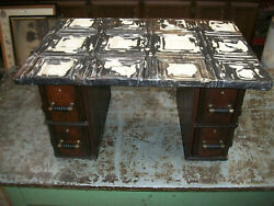 Antique Repurposed Sewing Machine Drawers Ornate Tin Ceiling Tile Top Cabinet