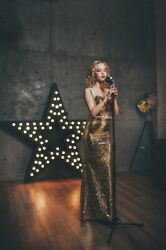 Evening gold dress S XS size 100% real photo $70.00