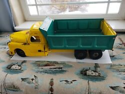 Structo 1950's Dump Truck Toy Hydraulically Operated Steel 21 Long Metal Toys