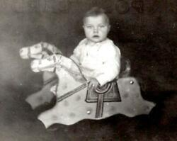 Rppc Kruxo 1910's-1920's Baby In Vintage Antique Rocking Hobby Horse Toy
