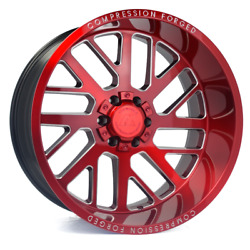 20 Inch 20x10 Axe Forged Ax2.2 Candy Red Wheels Rims 5x5 5x127 -19