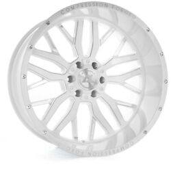 24 Inch 24x12 Axe Forged Ax1.3 White Milled Wheels Rims 5x5 5x127 -44