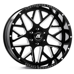 24 Inch 24x12 Axe Forged Ax5.0 Black Milled Wheels Rims 6x135 -44
