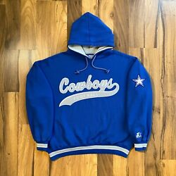 Vintage Dallas Cowboys Nfl Starter Spellout Patch Hooded Sweatshirt