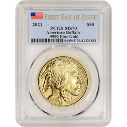 2021 American Gold Buffalo 1 Oz 50 - Pcgs Ms70 First Day Of Issue Flag Label
