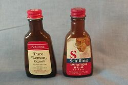 2 Vtg 1 Ounce Brown Bottles Schilling Extract - Pure Lemon And Imitation Rum