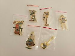 Hard Rock Cafe Online Cocktail Girls With Glass 6 Pin Set With Gold Guitar Rare