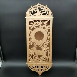Woodland Scene Scroll Work Reclaimed Wood Bird House Wall Hanging, Signed