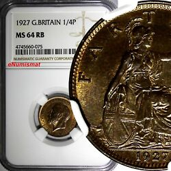 Great Britain George V 1910-1936 Bronze 1927 Farthing Ngc Ms64 Rb Km 825