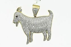 10k Solid Yellow Gold And Si Diamond 2.875 Ct Goat Pendant Charm W/ 10k Chain