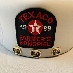 Vintage 80andrsquos Texaco Farmers Bonspiel Mesh Snapback Trucker Hat With Gold Pins