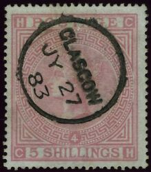 Sg 130 5/- Rose Plate 4 Blued Paper. A Superb Used Example With Glasgow Cds