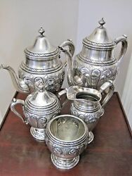 5 Pc. Amston 817 Pattern Hand Chased Sterling Tea Coffee Set