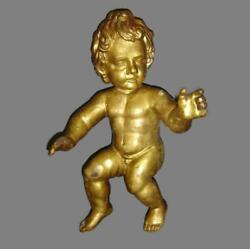 Antique Large Italian Carved Wood Gold Gilded Nude Putto Cherub Figurine 18th C.