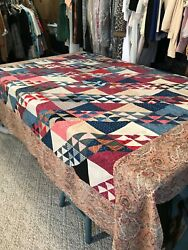Antique Vtg 1880/1910and039s Possibly Older Quilt Top 83 X 77 Hand Stitching