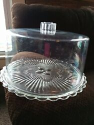 Vintage Glass Cake Plate With Acrylic Plastic Dome
