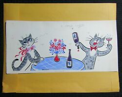 Valentines Day Cartoon Cats With Champagne 17x8 Greeting Card Art V3408