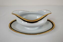 And Company Limoges Black Band Gravy Sauce Boat And Underplate Gold