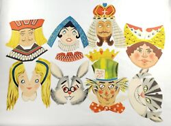 1950s Vtg Hallmark Alice In Wonderland Play Faces Cut Out Paper Masks Party Set