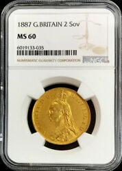 1887 Gold Great Britain 2 Pounds Double Sovereign Coin Ngc Mint State 60