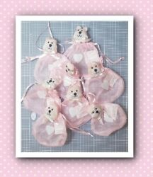 Drawstring Pouch With Bear Heads With Hearts Baby Pink 8 Pcs Unused
