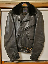 Vintage 1940's-1950's Buco Horsehide Leather Motorcycle Riding Jacket, Size 42