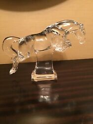 Rare Authentic Baccarat France Crystal Jumping Cheval Horse Figurine Statute