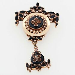 Antique Victorian Onyx Seed Pearl Mourning Dangle Brooch Pin In 14k Yellow Gold
