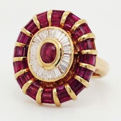 3 Carat Ruby And 1 Diamond Ring In 18k Yellow Gold-vintage Art Deco Size