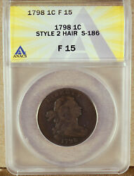 1798 Large Cent Second Hair Style S-186 Anacs F15 7134313