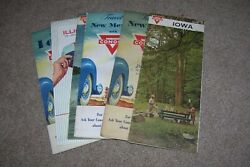6 Vintage 1950and039s 1960and039s Conoco Gas Road Maps Nm Ny Iowa Illinois