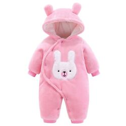 Baby Rompers With Hood Boys Girls Jumpsuit Winter Animal Thicken Outwear Pink...