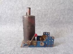 Vintage 1920and039s Meccano Vertical Boiler Live Steam Engine - Antique Toy Untested