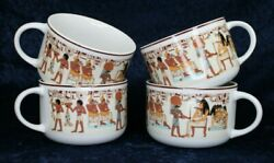 Egyptian Banquet Coffee Soup Mugs Horus Isis Stafford Co Set Of 4 Vintage Japan