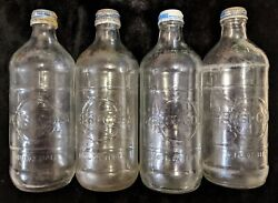 Vintage 1960and039s 1970and039s Pepsi Pepsi Cola Glass Bottle Lot W/screw On Caps 4 Pints
