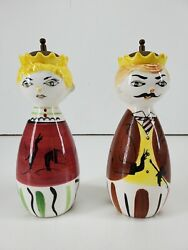 Vintage Tilso Japan King And Queen Salt And Pepper Shakers 7 Tall Porcelain