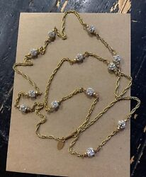 Rare Vintage Signed Miriam Haskell Gold Tone Necklace With Rhinestone Globes 41