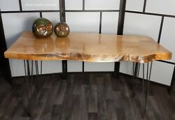 Live Edge Spalted Beech Dining Table Steel On Hair Pin Legs