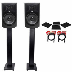 2 Jbl 308p Mkii 8 Powered Studio Monitors+stands+isolation Pads+xlr Cables