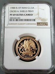 1988 Gold Iom 1/2 Angel Red Cross And Shield Privy Ngc Proof 69 Ultra Cameo