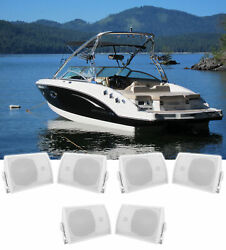 6 Rockville Hp5s 5.25 Marine Box Speakers With Swivel Bracket For Boats