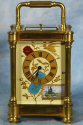 Superb Ornate Antique French Repeater Carriage Clock With Porcelain Panels, Dial